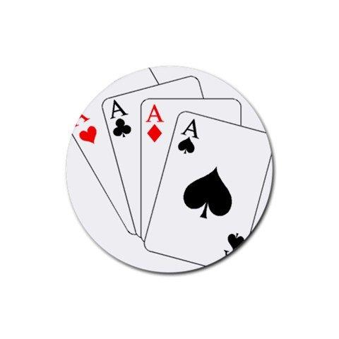Casino Poker Design Round Rubber Coasters Set of 4