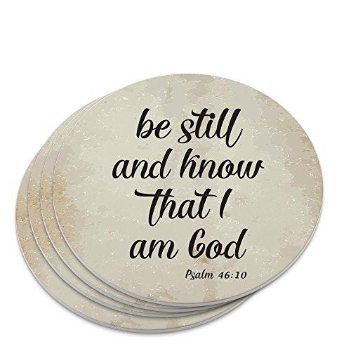 Be Still and Know that I am God Psalm Inspirational Christian Novelty Coaster Set