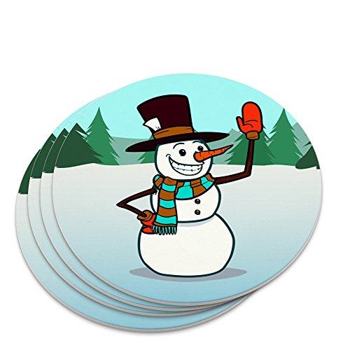 Snowman Waving Christmas Holiday Novelty Coaster Set