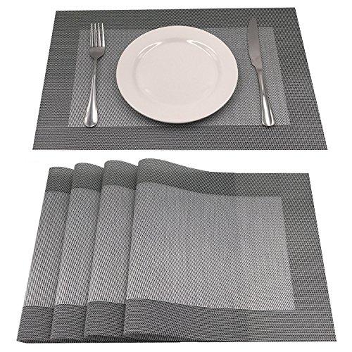 AMZMOO PlacematsSet of 4 PlacematsDining Table Mat Anti-SlipHeat Insulation PlaceMatTable Mats set of 4 GreySilver
