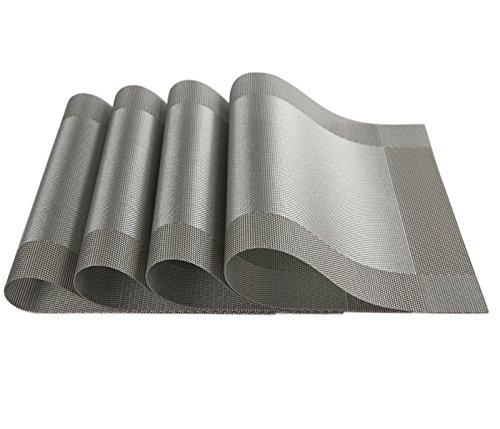 Table Mat iAnko Washable Environmental PVC Diagonal Frame Mats Heat Adiabatic Pad Cross Weave Non-slip Insulation Placemats Set of 4 Silver-gray