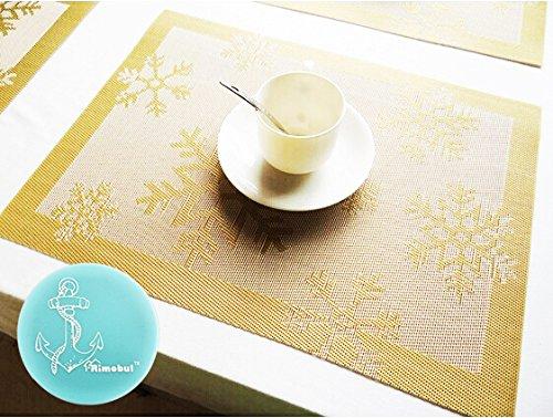 Rimobul Winter Snowflake Woven Vinyl Placemat Set of 6 Snow-Gold