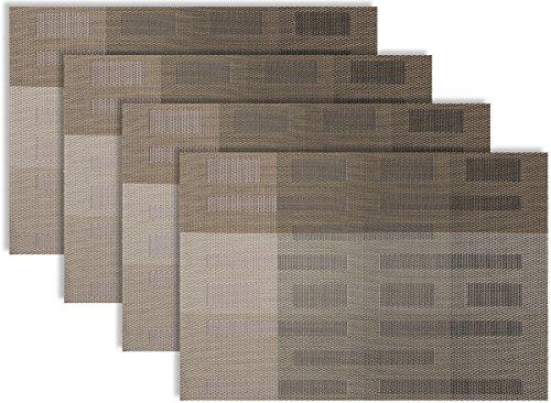 Secret LifeTM Set of 46 Contemporary Art Design Table Dinner Woven Vinyl Placemats 6 Grey