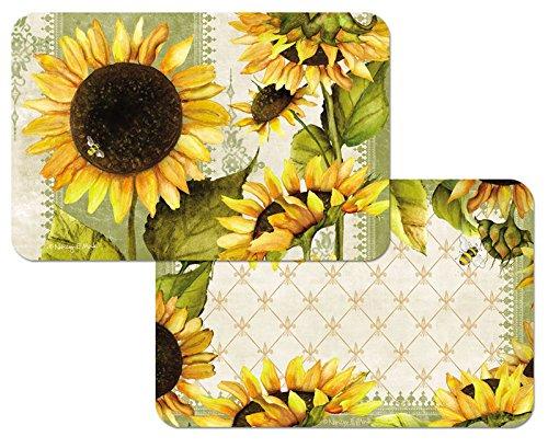 Sunflowers Reversible Washable Vinyl Placemats Set of Four