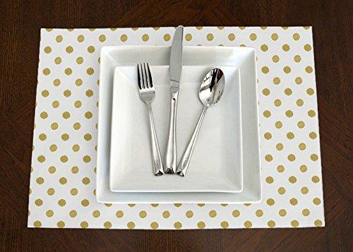 Set of 4 - White Metallic Gold Polka Dot Print Modern Placemat Topper Table Mat