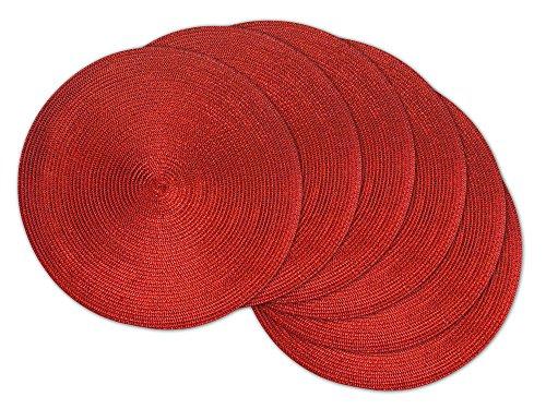 DII Round BraidedWoven IndoorOutdoor PlacematCharger Set of 6 Metallic Red
