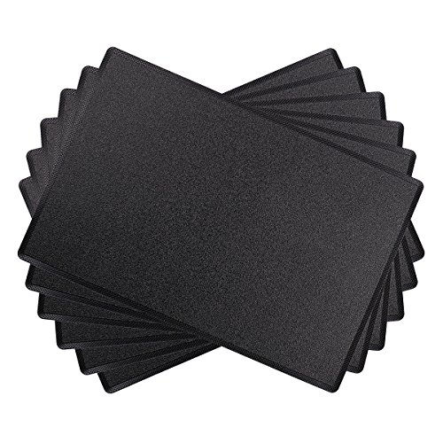 SiCoHome Leather PlacematsSet of 6Black Leather Placemats for Home and Office Decoration