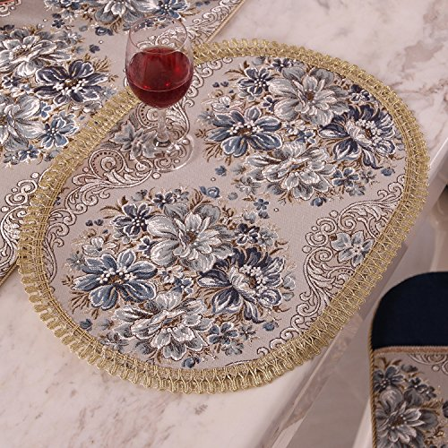 Aothpher Set of 4 Modern Elegant Oval Place Mats Blue Polyester Embroidered Washable Floral Pattern Placemats 12x18 Inch