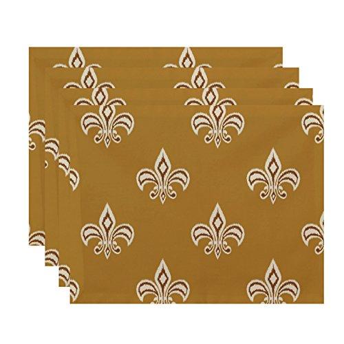 E By Design PT4FN354YE6BR5 Fleur de Lis Ikat Print Placemat 18 x 14 Gold