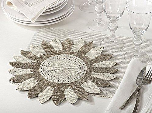Fennco Styles Zahara Flower Design Handmade Beaded 14-inch Round Elegant Placemat - 1-Piece