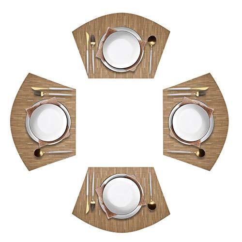 Jutao Round Table Placemats Set of 4 Wedge Washable Table mats for Kitchen TableRound Table Sandy Beige