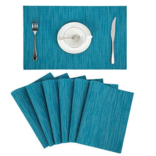 Pauwer Placemats Set of 6 Crossweave Woven Vinyl Placemat for Kitchen Table Heat Resistant Non-Slip Kitchen Table Mats Easy to Clean 6pcs Placemats Blue