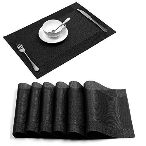 PlacematUArtlines Crossweave Black Woven Vinyl Non-slip Insulation Placemat Washable Table Mats Set of 6