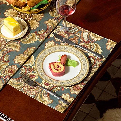 QXFSMILE Modern Jacquard Floral Placemat 12 By 16 Inch Blue6 Piece