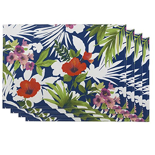 Tommy Bahama Indoor Outdoor Water Repellent Bernini Floral Placemats Set of 4 100 Polyester 13 X 19