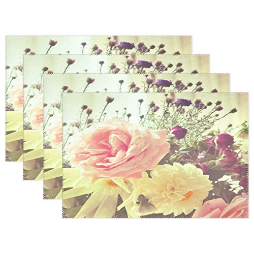 WOZO Shabby Chic Floral Placemat Table Mat Beautiful Flower 12 x 18 Polyester Table Place Mat for Kitchen Dining Room Set of 6 for Kids