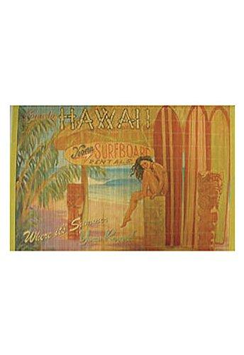 Hawaiian Style Bamboo Placemat Kona Surfboard Rentals Set Of 4