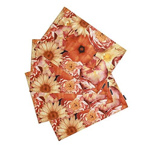 Phantoscope Decoractive New Autumn Harvest Series Autumn Multiple Flowers Placemat 14 x 18 33cm x 45cm Set of 4