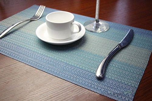 YO FUN Set of 6 PVC Placemats Washable Non-Slip Rectangle Table Mats Heat-Insulation Placemat Decoration for Home Restaurant Hotel 45x30CM - Blue