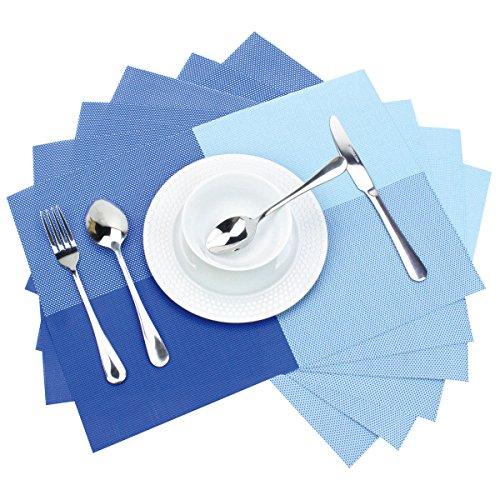 Moxinox Placemats Set of 6 PVC Woven Vinyl Washable Table Mats 6 Blue