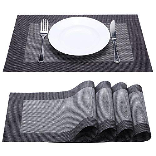 Placemat Fashion European Style PVC Placemat Non-slip Insulation Placemat Washable Table Mats Set of 4 BlackGrey