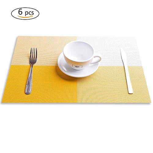 Placemats Set of 6JIAY Crossweave Woven Vinyl Placemat Washable Table Mats Orange
