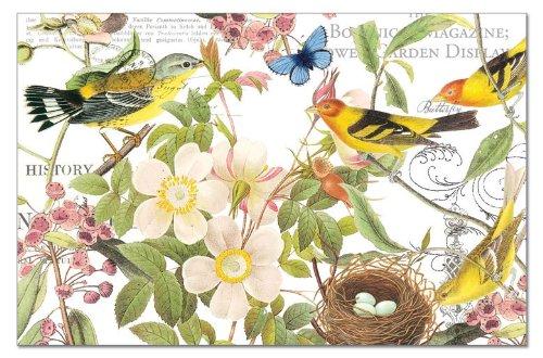 CounterArt Paper Placemat Botanical Birds 24-Pack