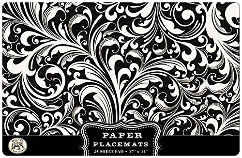 Michel Design Works 25 Count Florentine Paper Placemats BlackWhite