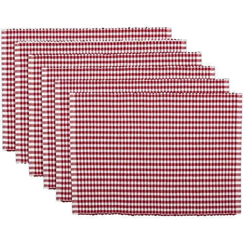 VHC Brands Tara Ribbed Placemat Set of 6 Red