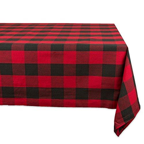 DII 60x84  Rectangular Cotton Tablecloth Red Black Buffalo Check Plaid - Perfect for Fall Thanksgiving Christmas Farmhouse Décor Picnics Potlucks or Everyday Use
