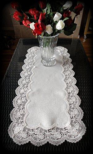 Dresser Scarf ROYAL ROSE European Lace White Table Runner 34 Doily