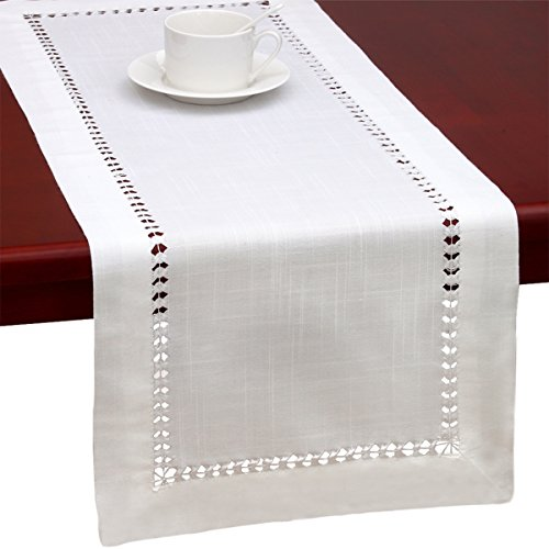 Handmade Hemstitched Natural Rectangle White Table Runners And Dresser Scarf 14x132 inch