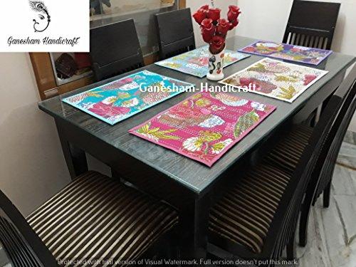 Ganesham Handicraft- Indian Handmade New Kantha Quilt Dinning Table Cotton Table Mats Table Runner Table Cloth Handmade Place Mat  Kantha Table Pads Set of 5 Piece