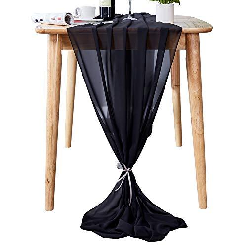 Aviviho 10ft Chiffon Table Runner for Wedding Decor Boho Party Bridal Shower Baby Shower Table Decorations Black