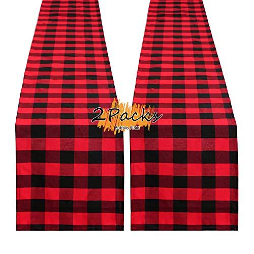 B-COOL Buffalo Check Table Runner Red and Black Table Runner 2 Pack 13 x 108 Inches Plaid Table Runner Kitchen Decor Christmas Decor