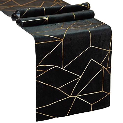 Letjolt Golden Geometric Table Runner Thick Velvet Table Runner Wedding Party Luxury Fabrics for Dinner Table Birthday Party Supplies Black 12x72 Inches