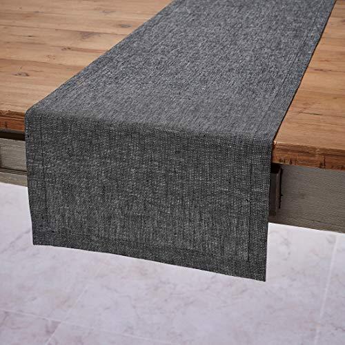 Solino Home Festive Linen Table Runner - Black Linen Runner Woven with Decorative Zari - 14 x 90 Inch