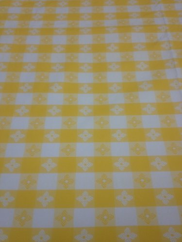Blue Hill 52x90 Classic Yellow Tavern Check Flannel Backed Vinyl Tablecloth Made in the USA