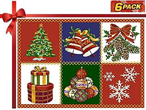 Homvare Holiday Tapestry Set of 6 Placemats - Christmas Patchwork