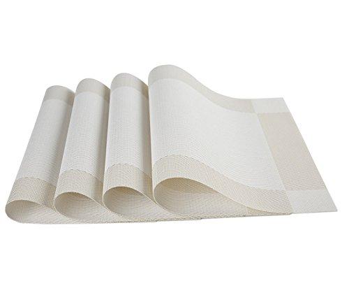 Table Mat iAnko Washable Environmental PVC Diagonal Frame Mats Heat Adiabatic Pad Cross Weave Non-slip Insulation Placemats Set of 4 Creamy-white
