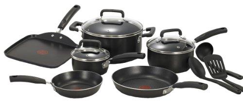 T-fal C111sc Signature Nonstick Thermo-spot Heat Indicator Cookware Set, 12-piece, Black