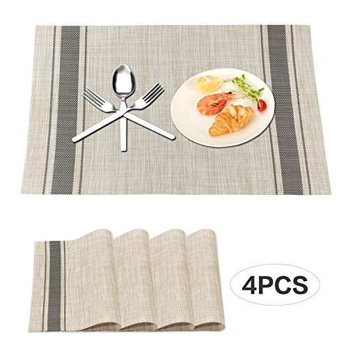 Zekkai Heat-resistant Dining Placemats Stain Resistant Non-slip Washable PVC Table Mats Set of 4 Dark Gray