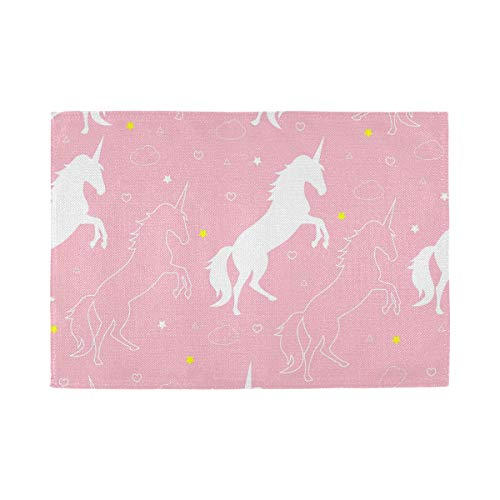 ATONO Pink Unicorn with Stars and Cloud Hearts Placemat Kitchen Table Lunching Plate Mats Double-Sided Use 1 PCS 12X18 Inch Non-Slip Washable Dining Insulation Pads