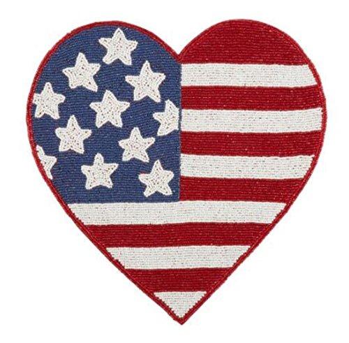 Nantucket H Beaded American Flag Heart-Shaped Placemat Centerpiece 135
