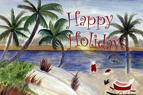 Christmas Santas beach break coastal placemats from my art set of 2
