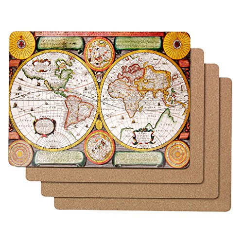 "World Map Cork Placemats  Set of 4 Placemats for Kitchen Table 16x12"" Hardboard Cork Backed Placemats  UV Curable Coating - Waterproof Easy to Clean  Thick Heat Resistant to 212ºF"