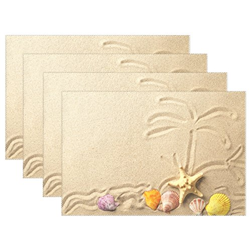 WOZO Tropical Palm Tree Starfish Seashell Sand Beach Placemat Table Mat 12 x 18 Polyester Table Place Mat for Kitchen Dining Room Set of 4