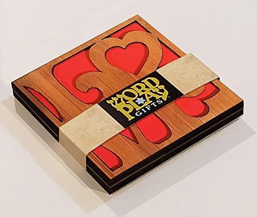 4x4 Love laser cut Bamboo coasters set