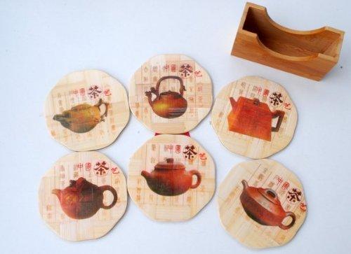 Bamboo Coaster Set - Teapots