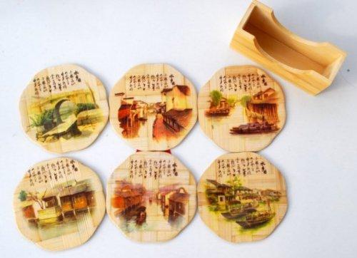 Bamboo Coaster Set - Village Scene